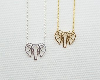 Origami Elephant Face Necklace