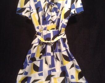 Vintage 80s Blue, Yellow and White Dress