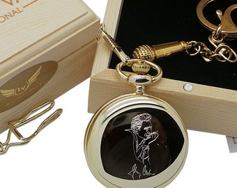 Johnny Cash Signed Custom Engraved 24 Carat Gold Coated Pocket Watch and Microphone Keychain  Wooden Gift Case Box Free Engraving on back