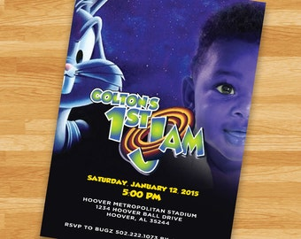PRINTABLE Space Jam Invitation - LoonyToons- Custom Birthday Invitation - Girls Boys Birthday Party 4x6 or 5x7