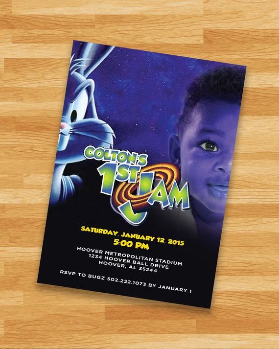Printable space jam invitation loonytoons custom birthday for Space themed stationery