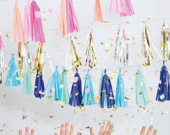 gold and silver party tassels