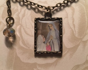 St. Bernadette and Our Lady of Lourdes pendant