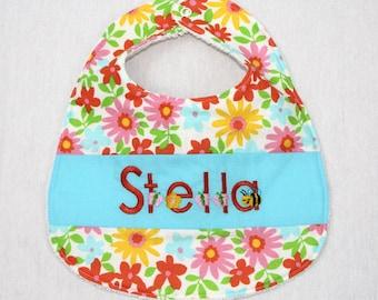 Custom Bib with baby name in Moda Dream On fabric