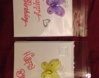 Birthday cards with butterflies and hearts