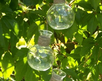 Three Hanging Glass Vases on a Strap