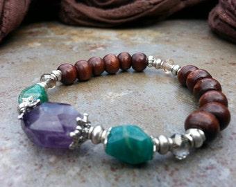 Amethyst and Amazonite Gorgeous Goddess Bracelet