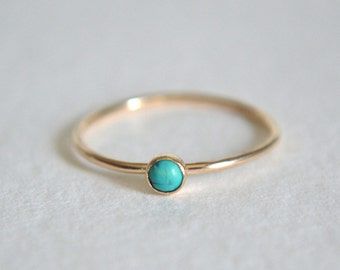 14k Solid Gold Turquoise Ring, Rose Gold Turquoise Ring, Turquoise Ring Gold, Stackable Ring, 14k Gold Ring, Dainty Turquoise Ring