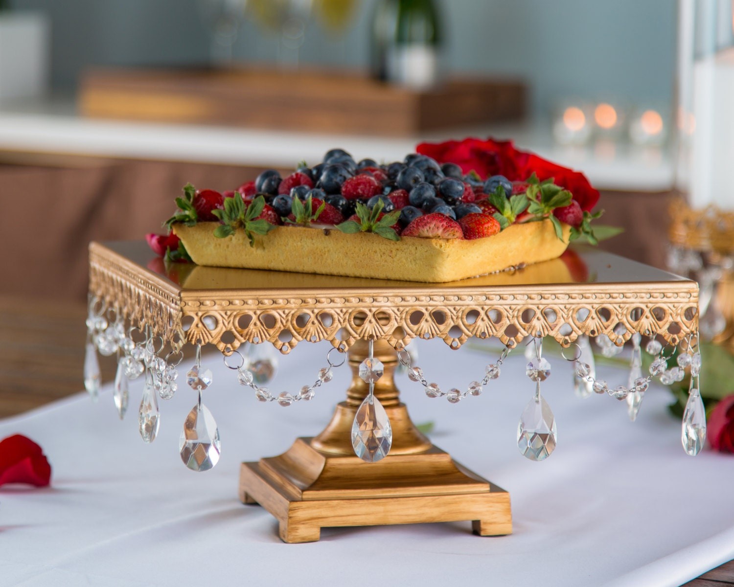 Gold Square Cake Stand with Crystals 12 by PlatinumHomeDesigns