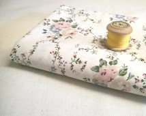 Ivory floral cotton fabric remnant with charming floral print in pale pink and green