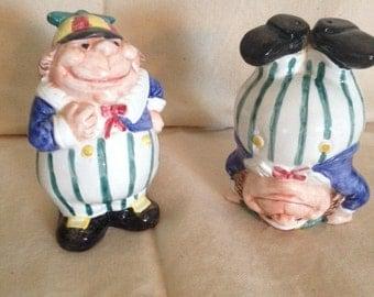 Vintage Fitz and Floyd Tweedle Dee, Tweedle Dum Salt and Pepper Shaker Set