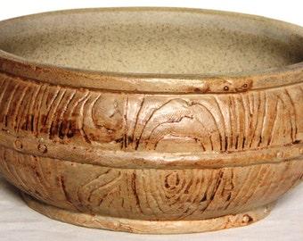 Vintage Grain Effect Stoneware Planter/Hyacinth Bowl Hillstonia - Moira Pottery