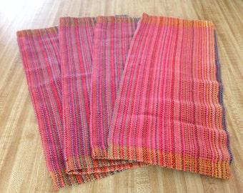 Handwoven Placemats,  Coral Weft