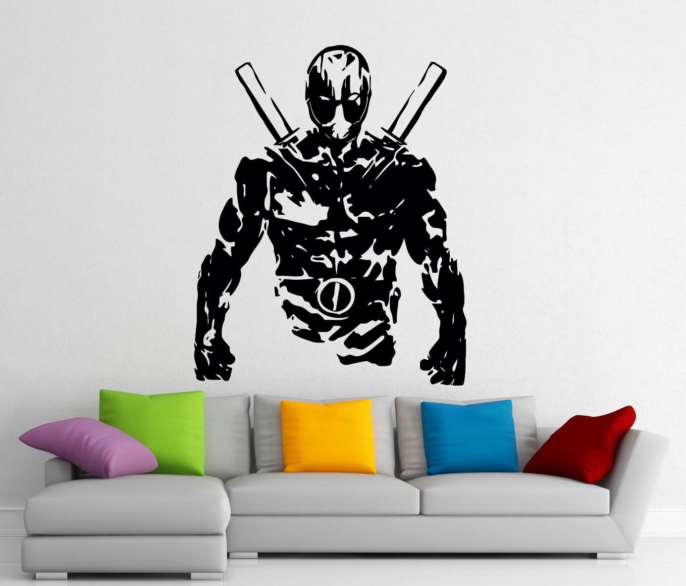 Favori Art peintures murales intérieures Deadpool pochoir Stickers WO25