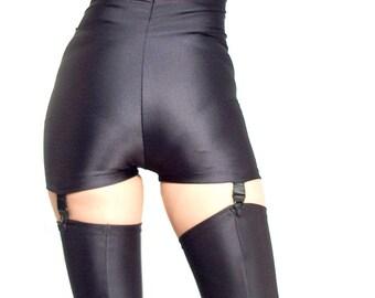 High waisted black spandex suspender shorts hot pants Goth