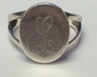L Etched Sterling Silver 925 Ring 9045