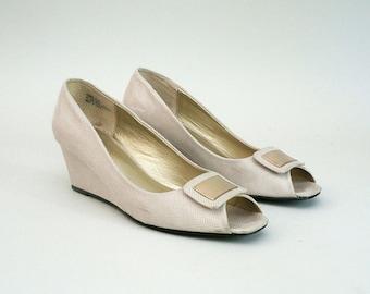Beige Peep Toe Wedge Heels Size 8.5 Womens