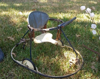 One of a Kind Baby Walker - Vintage, made of wood, leather and metal