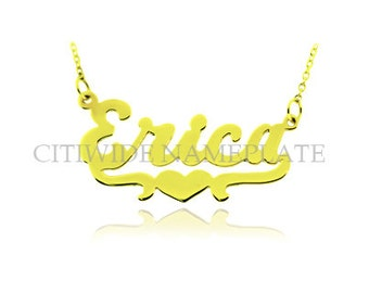 14K Solid Gold Name Necklace With Heart Tail