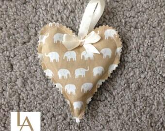 Heart Lavender Bag/Sachet Beige Elephant Print