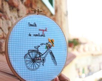 Summer tastes like adventures-Hand stitched embroidery hoop
