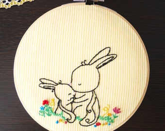 Momma Bunny with her baby bunny- Hand stitched embroidery hoop