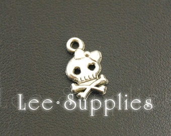50pcs Antique Silver Alloy Skull Girl with bow Charms Pendant A1152