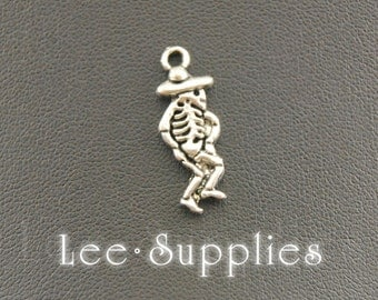 50pcs Antique Silver Alloy Skeleton Day Of The Dead Charms Pendant A931