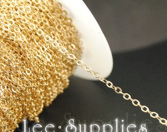 2mm KC Gold Plated Chain Flat Cable Necklace Chain - Soldered C36