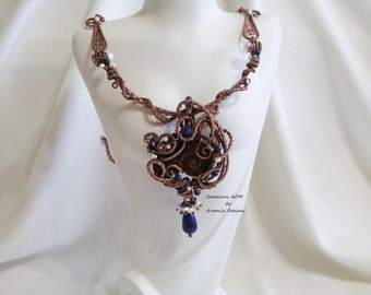 Copper necklace with ammonite, lapis, pearls and micro-pearls