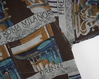 ENERGY ITALY • 70s • 80s • Vtg Italian Button Down Polo Shirt 1980 Abstract Graphic • Medium M • Rare Vintage European Fashion Wear Clothing
