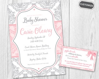 Pink and Gray Damask Baby Shower Printable Invitation { Pink and Gray } { Script } { OPTIONAL ENCLOSURE }