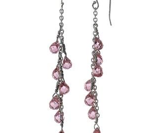 Pink Preciosa Crystal, Chandelier Bobeche, Bbridesmaid Earrings Set Of 7, Strand Earrings, Pink Preciosa, Chandelier Earrings Wedding