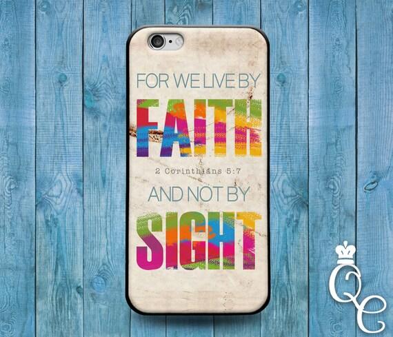 iPhone 4 4s 5 5s 5c SE 6 6s 7 plus iPod Touch 4th 5th 6th Gen Cover We Live By Faith Bible Verse Quote Corinthians Cute Adroable Phone Case