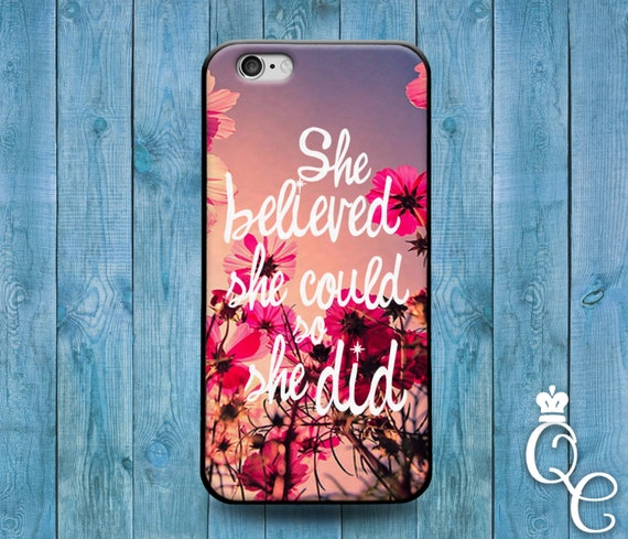 iPhone 4 4s 5 5s 5c SE 6 6s 7 plus iPod Touch 4th 5th 6th Gen Cute Pink Flower White Font Custom Quote Cover Fun Cute Girly Girl Phone Case