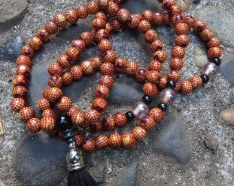 Painted Wood Mala Necklace with Onyx Guru Bead