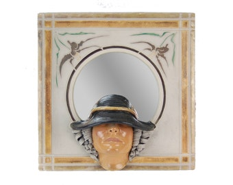 Marc Sijan Wall Mirror Sculpture Life Size Face of Lady in Hat