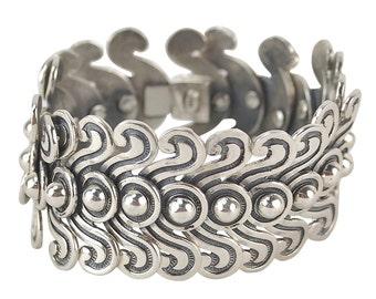 Copy Los Castillo Pre-Columbian Double Swirl Mexican Silver Bracelet