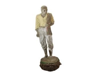 Estate Salvage Vintage Concrete Garden Sculpture of Bald Man w Serape