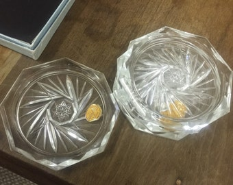 Bohemian Cut Glass Coasters--set of 4--NOS