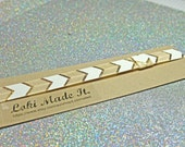 Cream/Gold Chevron Planner Band - you choose size.