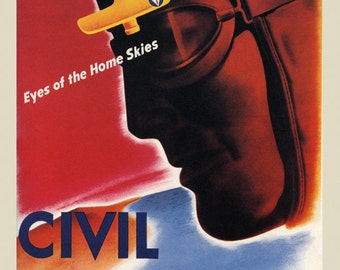 Plane Civil Defense Air Pilot Patrol Eyes of the Home Skies American Airplane Vintage Poster Repro FREE SHIPPING in USA