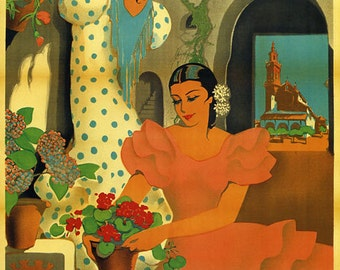 Spain Cordoba 1936 Flowers Roses Girls Ladies Spanish Vintage Poster Repro FREE SHIPPING in USA