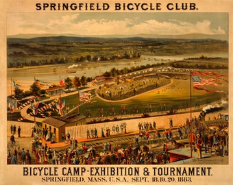 Bike Penny Farthing 1883 Bicycle Cycle Club  Springfield Mass American US Sport Vintage Poster Repro Free S/H in USA