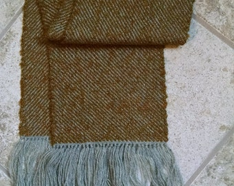 Mustard on gray hand-woven scarf