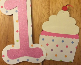 1st birthday cupcake themed cake topper!!