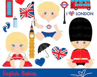 Cute English Babies Digital Clipart / Digital Clip Art for Commercial and Personal Use / INSTANT DOWNLOAD