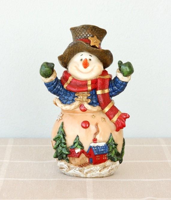 Vintage snowman figurine large sculpture resin