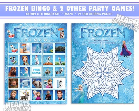 Frozen Bingo Game Maze Coloring Pages Frozen By HeartsPaperArt