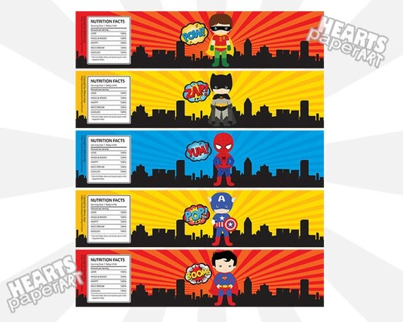 5 superhero water bottle labels birthday party by